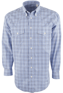 Gitman Bros. Blue and Black Multi-Check Western Shirt - Front