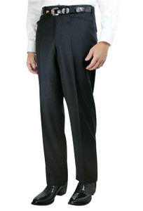 Plain Front Black Western Dress Slacks - Front