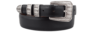 "Spanish Calf 1 1/4-1"" Tapered Belt - Black"
