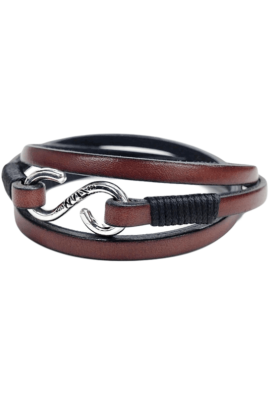 Kenton Michael Genuine Leather Strap and Sterling Triple Clasp Bracelet - Brown