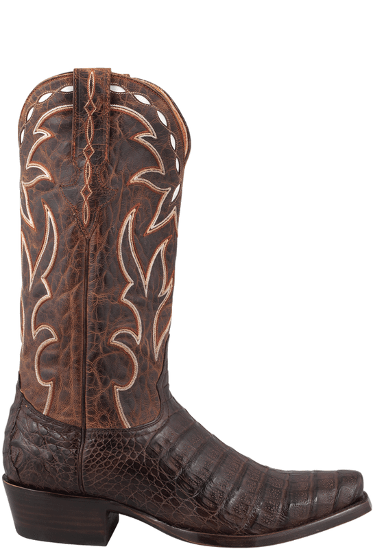 Benchmark by Old Gringo Men's Chocolate Burnished Caiman Belly Boots  - Side