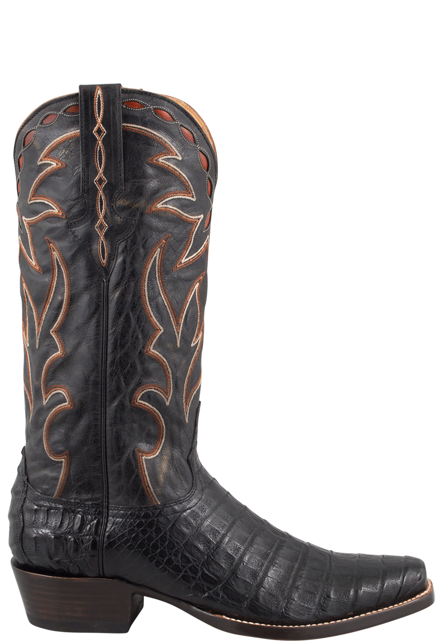 a5a5733bc19 Benchmark by Old Gringo Men's Black Burnished Caiman Belly Boots