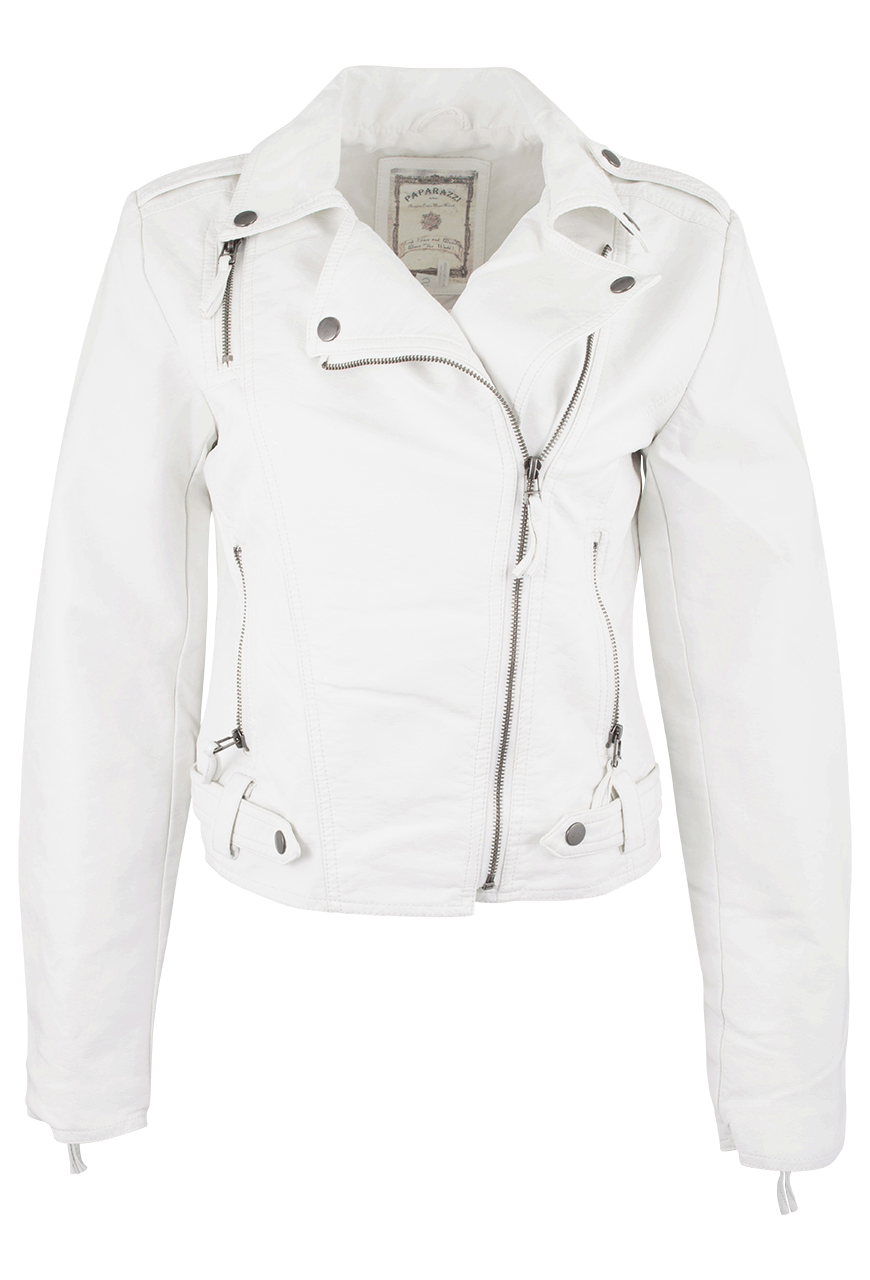 Paparazzi White Vegan Leather Moto Jacket