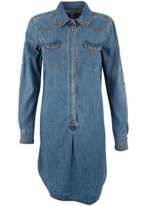 Ryan Michael Denim Whipstitch Dress - Front