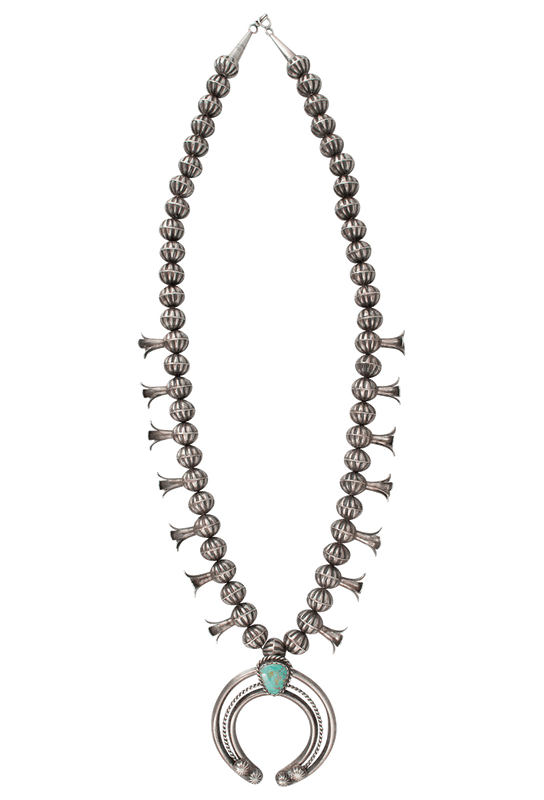 Turquoise Moon Squash Blossom Necklace Pinto Ranch