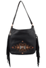 American West Dream Catcher Soft Shoulder Hobo Bag - Black - Front with strap
