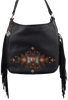 American West Dream Catcher Soft Shoulder Hobo Bag - Black - Front