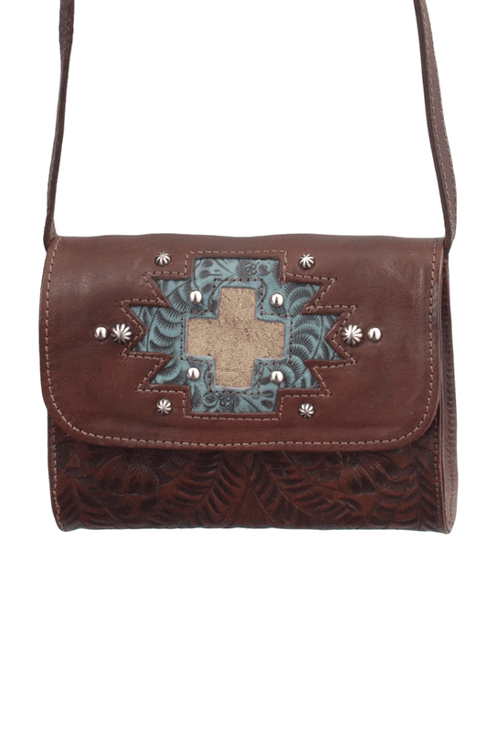 American West Gameday Small Crossbody Bag - Brown - Front