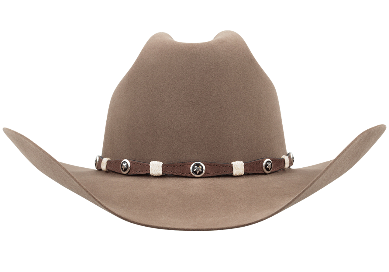 Scalloped Leather Hat Band with Star Conchos - Brown