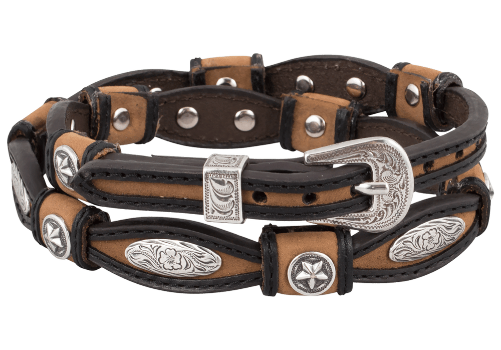 Tan and Black Scalloped Leather Hat Band with Conchos - Hat Band