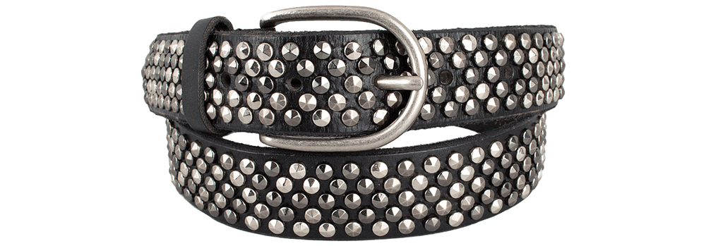 Leather Studded Belt - Black