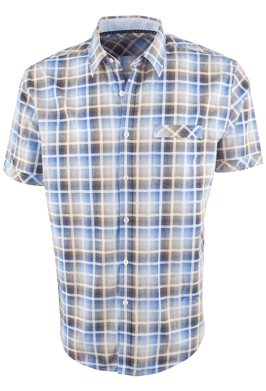 ef6f5c5fb3f James Campbell Short Sleeve Brown Chimala Plaid Shirt - Pinto Ranch