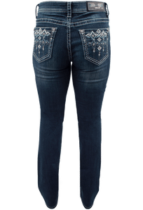 Grace in L.A. Easy Fit Blue Stitch Pocket Bootcut Jeans - Back