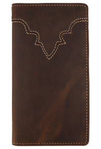 Western Classic Checkbook Wallet - Brown - Front