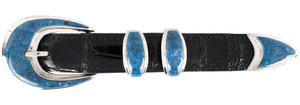 "BG Mudd Denim Lapis Mosaic 1"" Buckle Set -Hero"