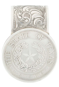Pinto Ranch Texas State Seal Coin Silver Engraved Money Clip - Front