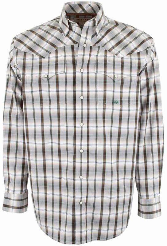 Miller Ranch White and Brown Plaid Snap Shirt - Front