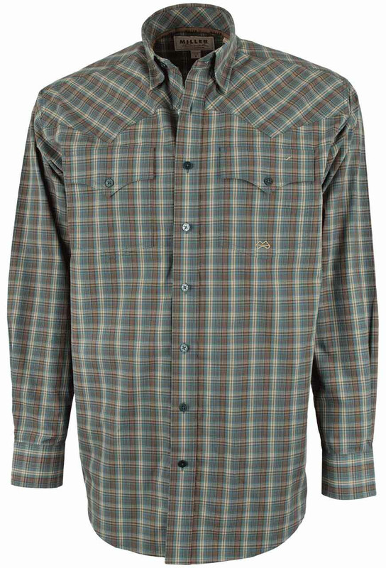 Miller Ranch Green and Brown Plaid Shirt - Front