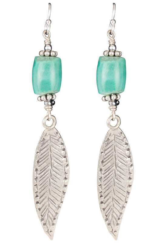 Breathe Deep Designs Feather and Turquoise Earrings