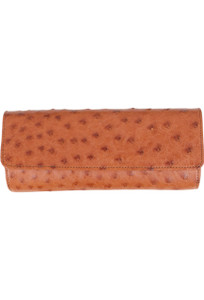 Kulu Angelina Ostrich Quill Clutch - Cherrywood - Front