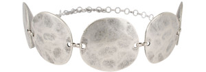 Matte Silver Hammered Circle Chain Belt