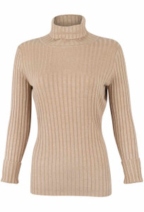 Metric Long Sleeve Turtleneck Top - Tan - Front