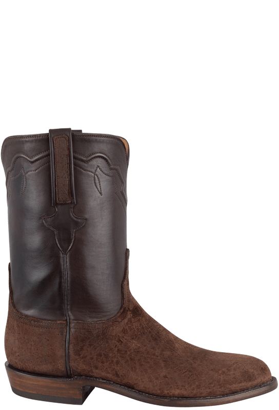 LUCCHESE CHOCOLATE HIPPO LEATHER ROPER BOOT