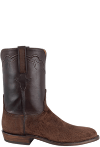 Lucchese Men's Chocolate Hippo Roper Boots - Side