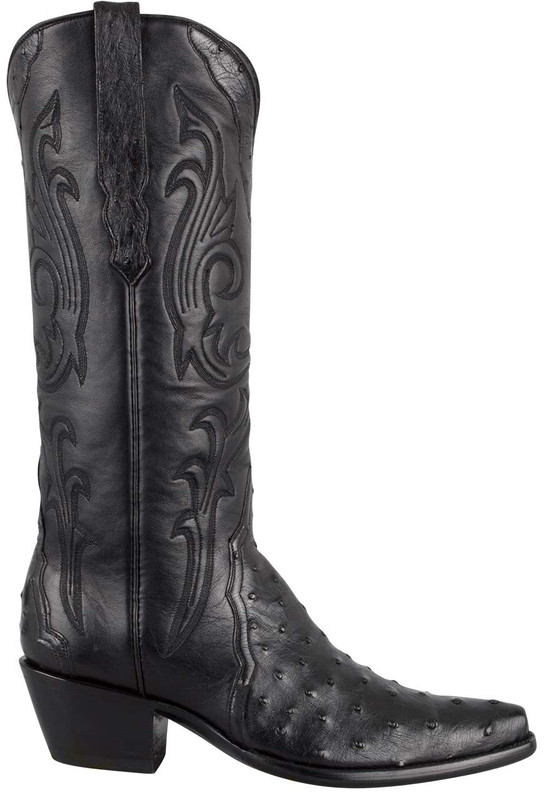 STALLION BLACK FULL-QUILL OSTRICH TRIAD BOOTS