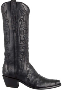 Stallion Women's Black Full-Quill Ostrich Triad Boots - Side