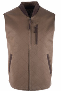 Madison Creek Quilted Zipper Vest - Tan - Front