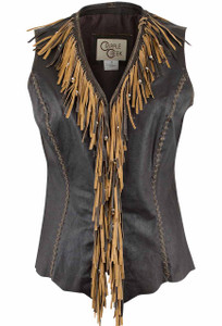 Cripple Creek Fringe Leather Vest - Front