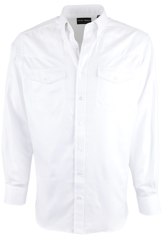 Pinto Ranch YY Collection Solid White Herringbone Shirt - Front