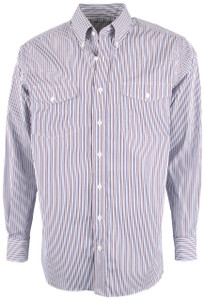 Pinto Ranch YY Collection Brown and Navy Stripe Shirt - Front