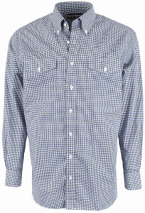 Pinto Ranch YY Collection Blue and Black Graph Check Shirt - Front