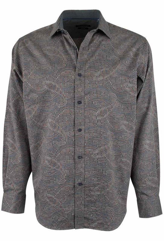Bugatchi Taupe Linear Paisley Sport Shirt - Front