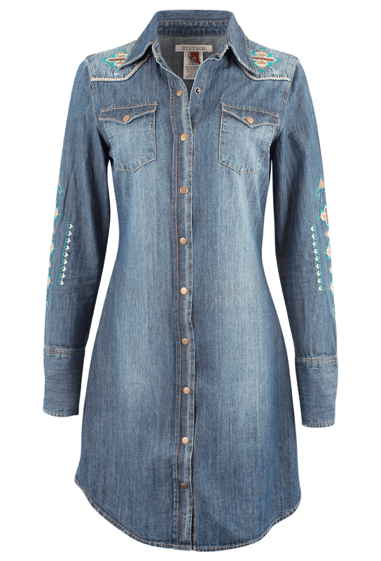 Stetson Embroidered Denim Western Shirt Dress - Front