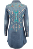 Stetson Embroidered Denim Western Shirt Dress - Back