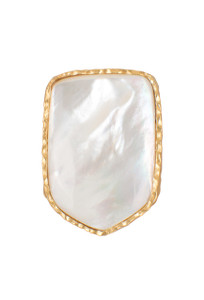 Christina Greene Mother of Pearl Shield Ring- Hero