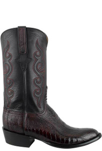 Lucchese Men's Black Cherry Ostrich Leg Boots - Side