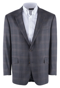 Muted Brown and Gray Plaid Western Sport Coat - Front