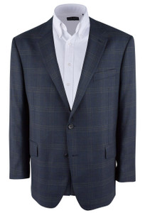 Muted Dark Blue Plaid Western Sport Coat - Front