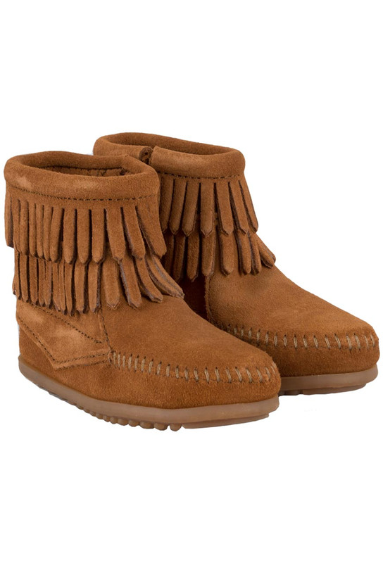 Kids - Minnetonka Double Fringe Brown Booties