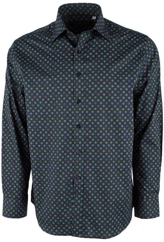 David Smith Australia Carbon Polka Print Shirt - Front