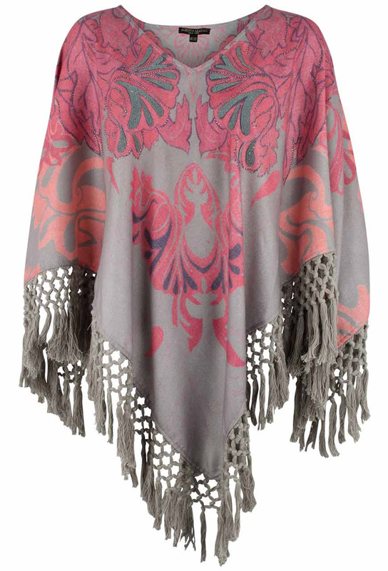 Alberto Makali Gray and Pink Poncho with Fringe - Front
