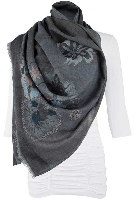 Carolina Amato Big Flower Shawl - Front