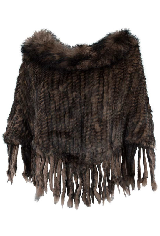 Adore Knit Fur Poncho with Fringe - Front