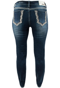 Grace in L.A. Easy Fit Pocket Outline Skinny Jeans - Back