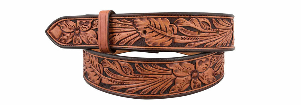 "Ultimate Floral 1 1/2"" Straight Tooled Belt Strap"