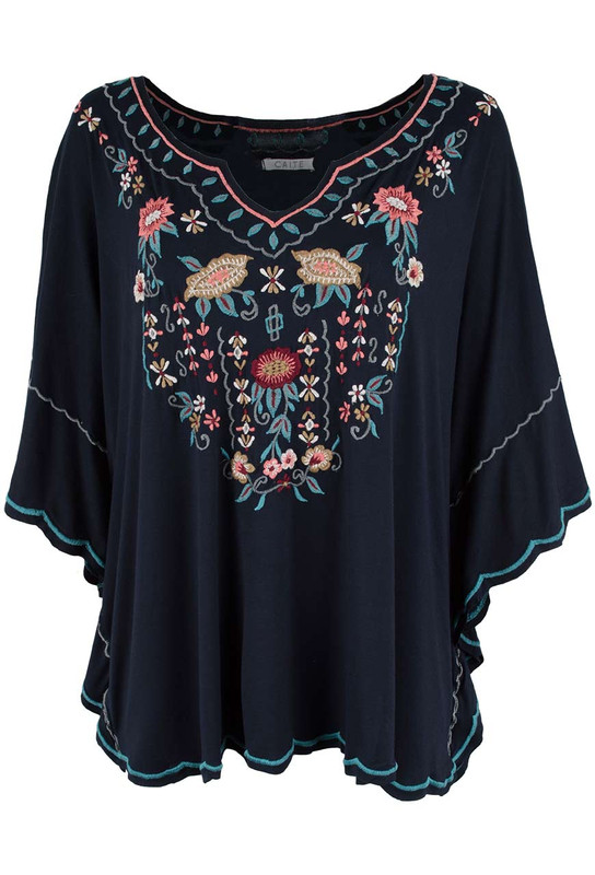 Caite Andee Embroidered Poncho - Front